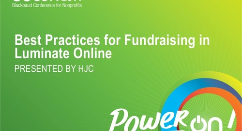 Best Practices for Fundraising in Luminate Online