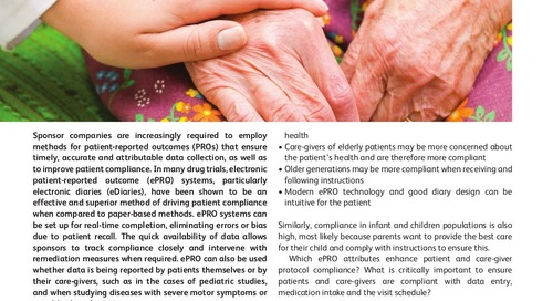 Patient Compliance, ePRO and the Role of the Caregiver