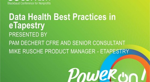 Keeping Good Health: Best Practices for Data Health in eTapestry