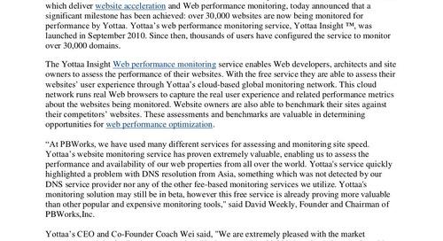 Yottaa achieves web performance optimization milestone
