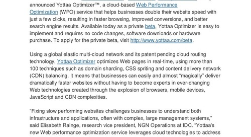Yottaa Launches Industry's First Real-time Web Performance Optimization Service