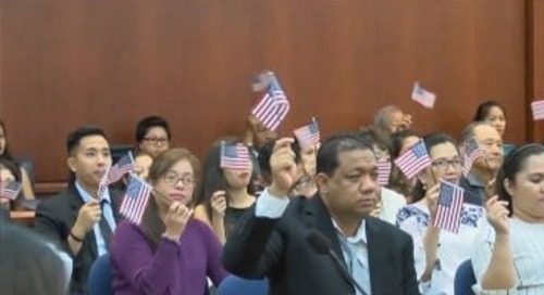 Patriotism on full display as 46 people earn US citizenship