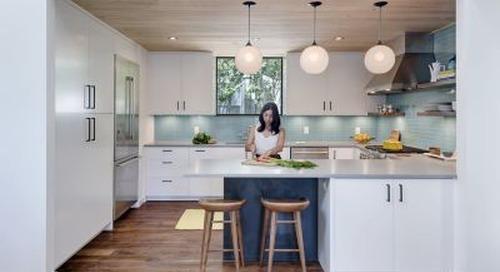 Opaline Glass Pendant Lights Complement Clean Kitchen Design