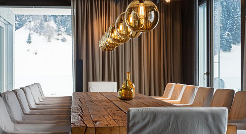 Modern Luxury Apartment Pendant Lighting in Austrian Alps