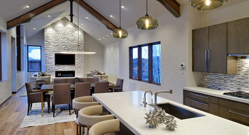 Kitchen Island Pendant Lights Bring Warmth to Aspen Mountain Home