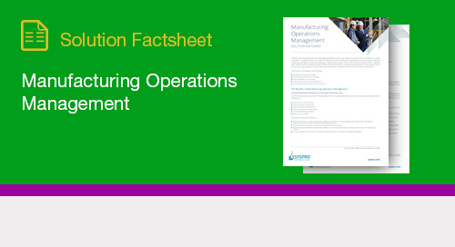 Manufacturing Operations Management Fact Sheet