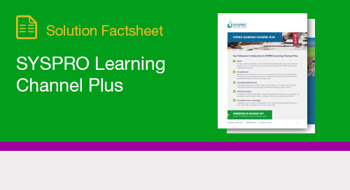 SYSPRO Learning Channel Plus