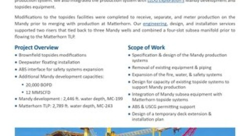 Project: Mandy Development / Matterhorn TLP: Subsea Tieback of Wells