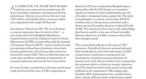 Human Capital Study: Can You See Beyond Your CEO? November 2011