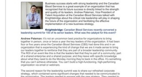 Andrew Pateman, Vice President of Talent Management & Corporate Strategy, Canadian Blood Services