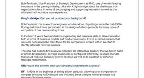 Bob Feldstein, Vice President of Strategic Development, AMD