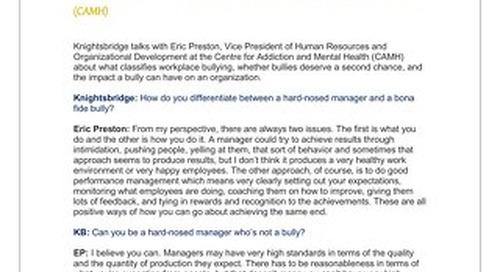 Eric Preston, Vice President of Human Resources & Organizational Development, CAMH