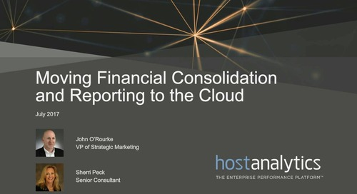 Moving Financial Consolidation and Reporting to the Cloud
