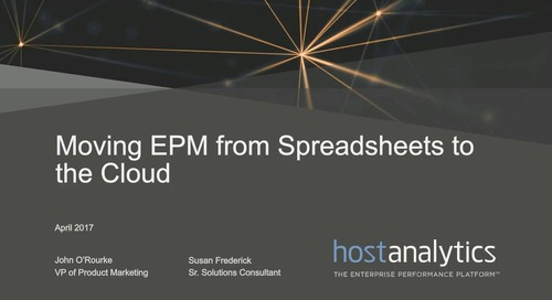 Moving EPM from Spreadsheets to the Cloud