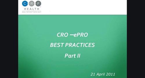 For CROs: ePRO Best Practices - Part II