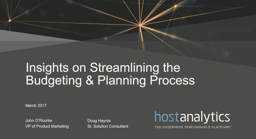 Insights on Streamlining the Budgeting & Planning Process