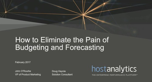 How to Eliminate the Pain of Budgeting and Forecasting