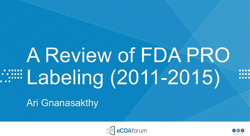 A Review of FDA PRO Labeling (2011-2015)