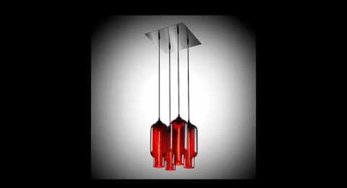 Niche Modern Chandeliers with Handmade Crimson Pendant Lights