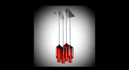 Niche Modern Chandeliers with Handmade Crimson Pendant Lights