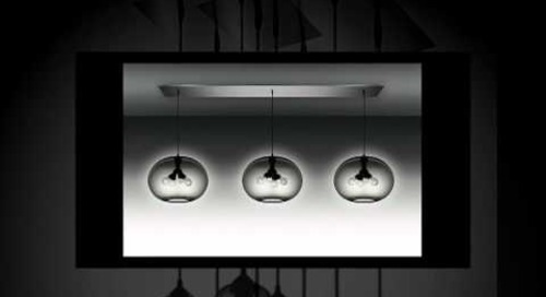 Modern Chandeliers with Gray Handmade Glass Pendants by Niche Modern