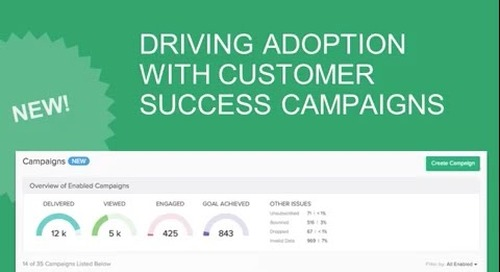 Driving Adoption with Customer Success Campaigns, featuring customer TrackMaven