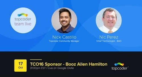 Topcoder Team Live - TCO16 Sponsor Booz Allen Hamilton