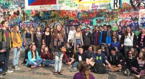"Branford High School Singing ""Imagine"" - John Lennon Wall, Prague"