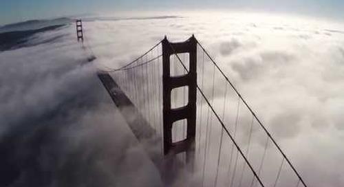 Golden Gate Bridge with Awesome San Francisco Fog - Quadcopter Aerial Views