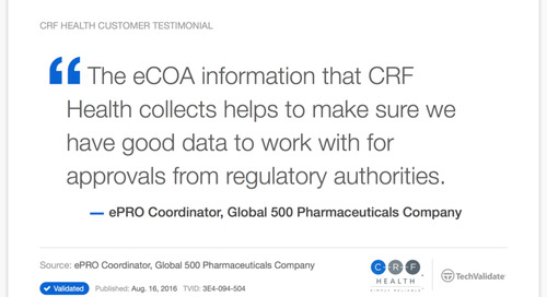 Testimonial: CRF Health Helps Ensure Good Data Supports Regulatory Approval