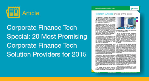 Corporate Finance Tech Special: 20 Most Promising Corporate Finance Tech Solution Providers for 2015