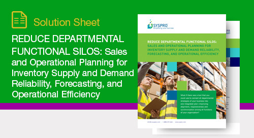 Sales and Operational Planning for Inventory Supply and Demand Reliability, Forecasting, and Operational Efficiency