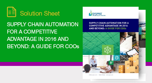 Supply Chain Automation for a Competitive Advantage in 2016 and Beyond