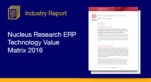 Discover how the Nucleus Research firm ranks ERP vendors based on usability and functionality