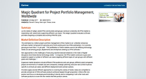 Gartner 2017 Magic Quadrant for Project Portfolio Management, Worldwide