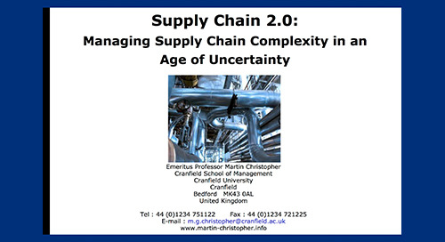 """inSIGHT2013 Dr. Martin Christopher """"Managing Supply Chain Complexity in an Age of Uncertainty"""""""