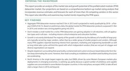 451 Research Report Excerpt: Global Prefabricated Modular Datacenter Forecast 2014-2018