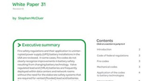 WP 31 - Battery Technology for Data Centers and Network Rooms: U.S. Fire Safety Codes Related to Lead Acid Batteries
