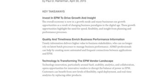 The EPM Market Landscape Responds To The Growth Agenda And Digital Disruption