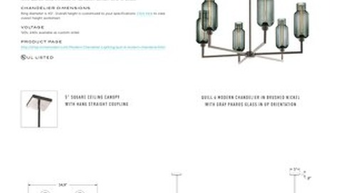 Quill 6 Chandelier - Tear Sheet