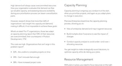 Planview Capacity Planning and Resource Management