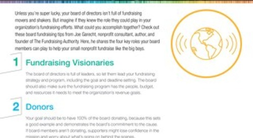 Tip Sheet: Four Fundraising Roles for Your Board Of Directors