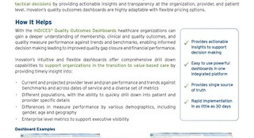 INDICES® Quality Outcomes Dashboards