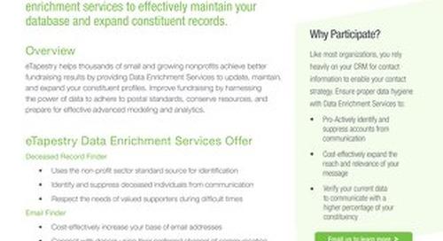 Data Enrichment Services for eTapestry