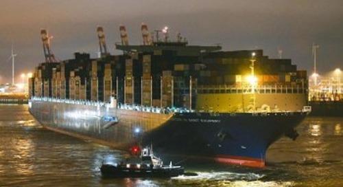 Maiden call by 'CMA CGM ANTOINE DE SAINT EXUPERY' at Port of Hamburg
