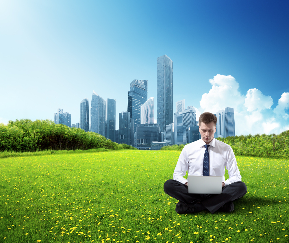 man sitting on grass with laptop with a city background