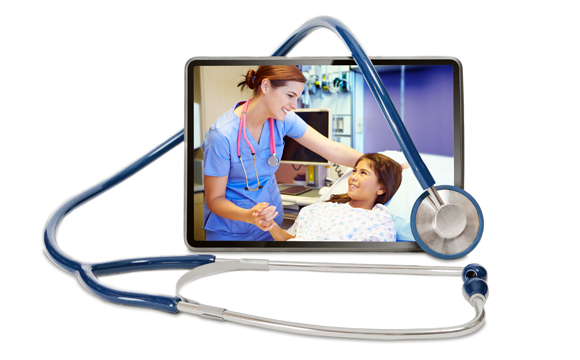 A tablet showing a nurse assisting a child in a hospital bed
