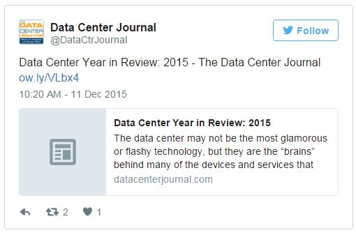 Tweet displayed from @Data Center Journal