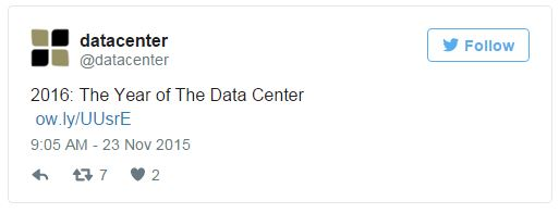 Tweet displayed from @datacenter