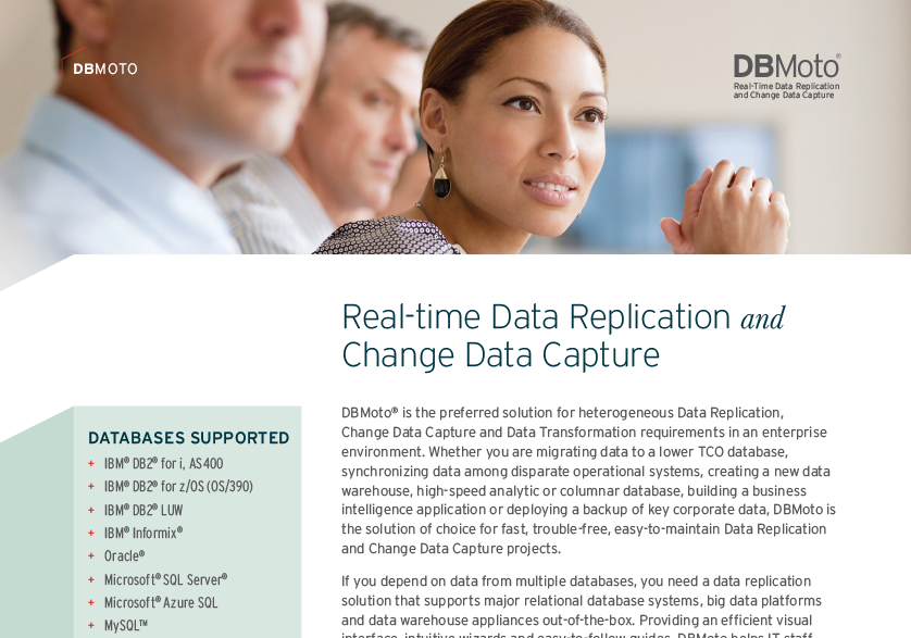 DBMoto for Real-time Data Replication and Change Data Capture